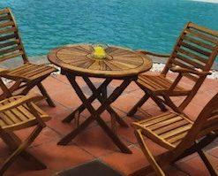 סט עץ שולחן עגול 80 וכיסאות נאפולי
