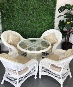 שולחן עגול לגינה שולחן ראטן סינטתי
