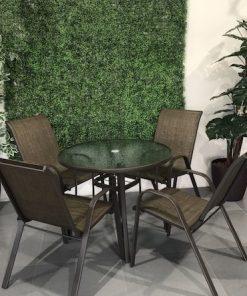 שולחן עגול זכוכית 80 ו4 כיסאות סלינג